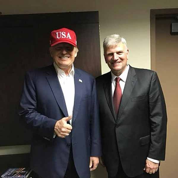 Franklin Graham with President Donald Trump increasing his popularity