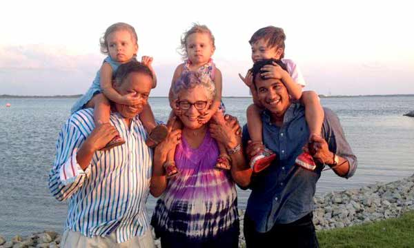 Happy moment of Juan Williams his wife and three little children