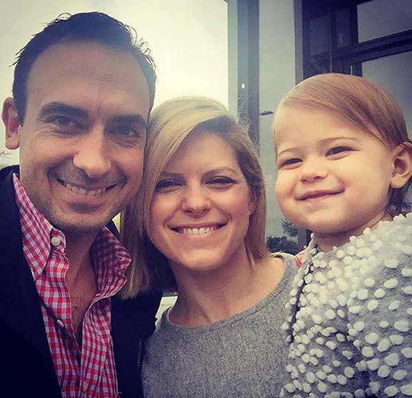 A perfect family picture of beautiful Kate Bolduan with husband and baby child