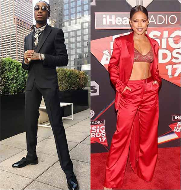 Quavo in black shoot and his rumored girlfriend in Karrueche Tran in red dress