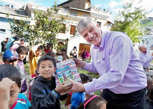 Samaritan's Purse employee Franklin Graham donating Shoe Boxes in Operation Christmas Child