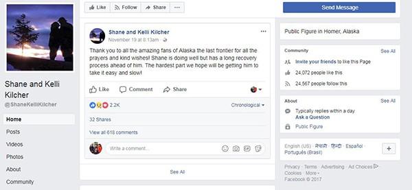 Shane and Kelli Kilcher's facebook status about Shane Kilcher health