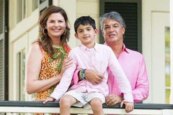 Elizabeth Blau with her husband, Kim Canteenwalla, and their son