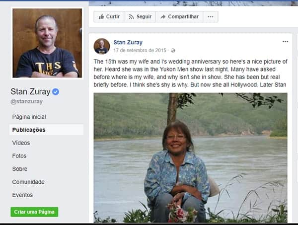 Stan Zuray Facebook status about his wife
