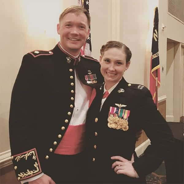 Captain Katie Higgins with her husband Ian Higgins