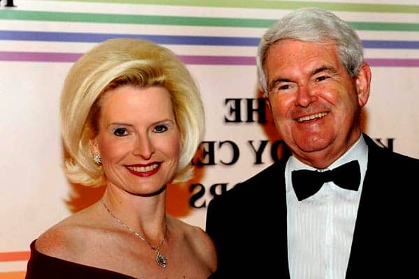 Image of Politician Newt Gingrich with his wife Callista Bisek.