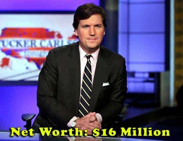 Image of Journalist, Tucker Carlson net worth is $16 million