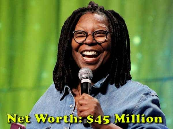 Image of Actor, Whoopi Goldberg net worth is $45 million