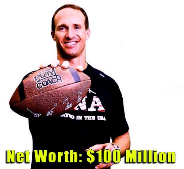 Image of American Football Player, Drew Brees net worth is $100 million