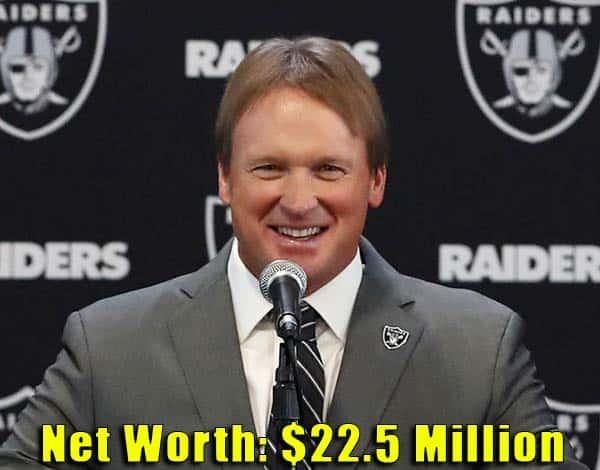 Image of American Football Coach, Jon Gruden net worth is $22.5 million