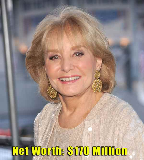 Image of Television Presenter, Barbara Walters net worth is $170 million